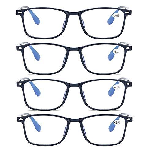 JTeam 4 Paar Computer Lesebrille Ultraleichte Und Flexible Distanzbrille TR90 Wiegt Nur 12g Unzerbrechlich UV-Schutzbrille Mann Frau (Color : Blue, Size : 2.50X)