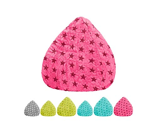 lifestyle4living Sitzsack für Kinder und Jugendliche, Pink mit Sternen, Plüsch Bezug | Pflegeleichter und bequemer Beanbag Fluffy L Liegesack 120l