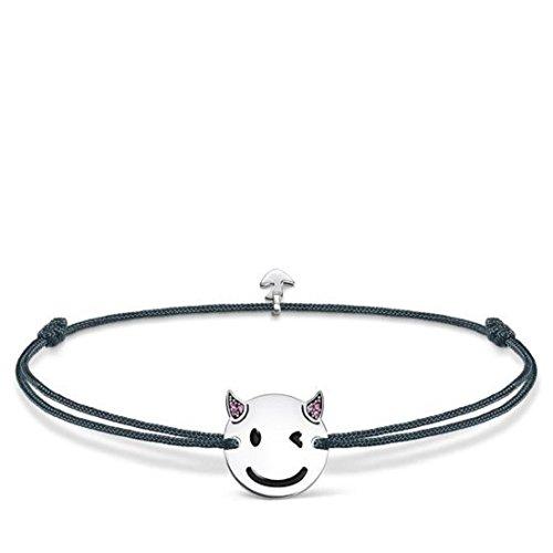 Thomas Sabo Damen-Armband Little Secret Teufel-Emoticon 925 Sterling Silber Grau LS044-382-5-L20v