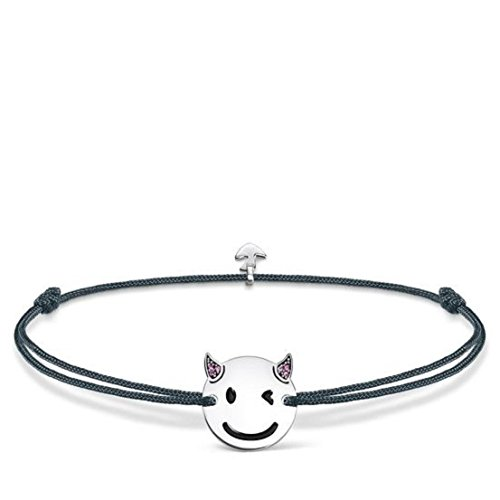 Thomas Sabo Damen-Armband Little Secret Teufel-Emoticon 925 Sterling Silber Grau LS044-382-5-L20v