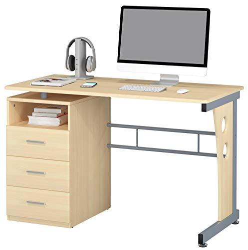 SixBros. Schreibtisch mit 3 Schubladen, Bürotisch in Ahorn Holzoptik, Büro & Home Office, 120 x 58 cm S-352/112