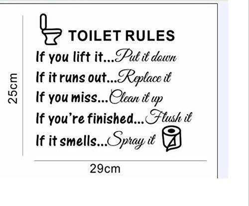 BathroomToilet Lid Decals, Vinyl Art Decals DIY Home Decor Toilet Rules Signs Designs (Signs Words)