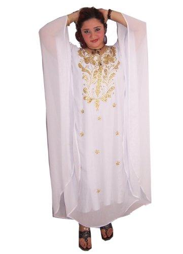 Egypt Bazar Egypt Bazar Abaya Festkleid aus Chiffon, Einheitsgröße: M bis XXXL (Weiß/Gold)