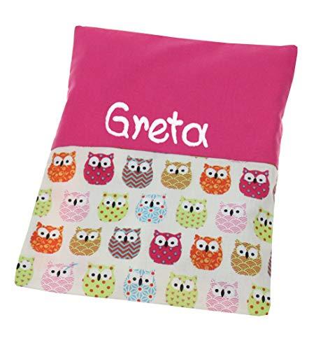 Personalisiertes Wärmekissen Eule pink 19x24cm mit Namen oder Spruch Frauen Mädchen Körnerkissen Babygeschenk Rapskissen - zum wärmen mit Wunschbeschriftung