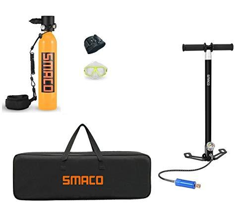 QPLKL Scuba Gear Equipo de Buceo con escafandra Cilindro, Mini portátil de oxígeno del Tanque de Buceo, Buceo con escafandra 0.7L Mini Cilindro con 8-14 Minutos de Capacidad por Buceo bajo el