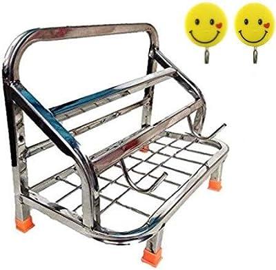 Rollyware™ Premium Heavy 100% Steel Chakla Belan Tawa Chimta Stand +2 Adhesive Smiley Free- Lighter Stand 4in 1 chakla belan tawa Holder