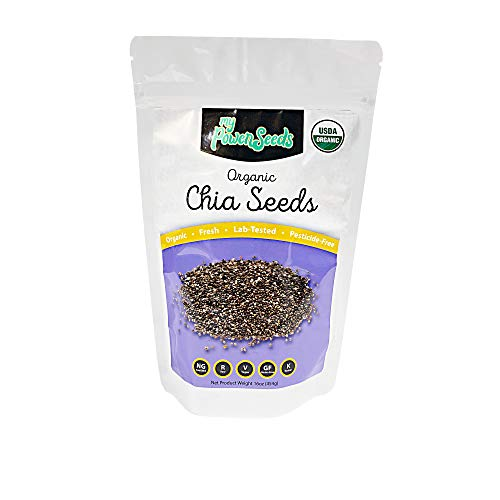 Certified Organic Chia Seeds by My Power Seeds (1 pound bag) | Natural Source of Vitamins & Minerals - Raw - 100% Non GMO, Vegan, Gluten Free