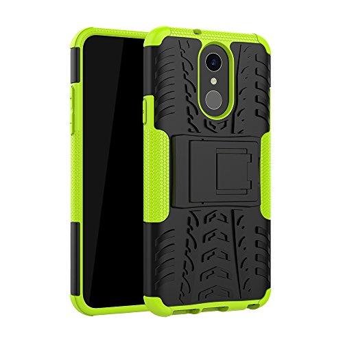 TiHen Handyhülle für LG Q7 Hülle, 360 Grad Ganzkörper Schutzhülle + Panzerglas Schutzfolie 2 Stück Stoßfest zhülle Handys Tasche Bumper Hülle Cover Skin mit Ständer -Grün