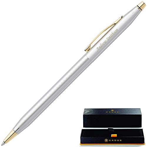 Personalized Cross Pen | Engraved Cross Classic Century Medalist Ballpoint Pen, Chrome and 23 Karat Gold Plated Trim 3302. Personalized Cross Gift Pen.