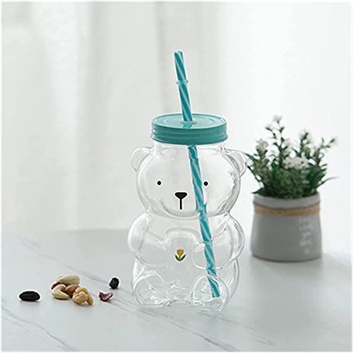 Taza de agua de 550 ml con diseño de oso de tulipán, creativo, resistente al calor, cristal transparente, jugo, leche, taza de agua para niños, con pajita (capacidad: 501 600 ml, color: 02)