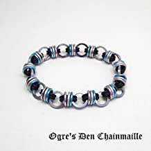 Pink, White, and Blue Stretchy Orbit Chainmaille Bracelet - No Clasp - Trans Pride