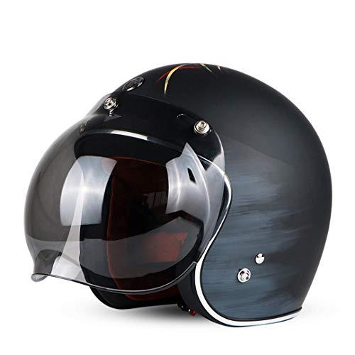 Sportinents Vintage Open Bubble Visor Moto Cara Motocross Jet Retro Casco Lucky 13 Bubble M