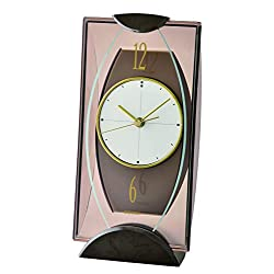 SEIKO Table Clock, Plastic, Brown, 24 x 11.9 x 9.1,