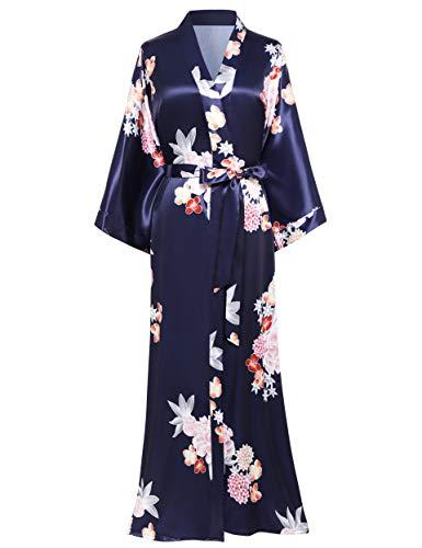 BABEYOND Damen Morgenmantel Maxi Lang Satin Sommer Kimono Kleid Blumen Muster Kimono Bademantel Damen Lange Robe Blumen Schlafmantel Girl Pajama Party (2-Dunkelblau)