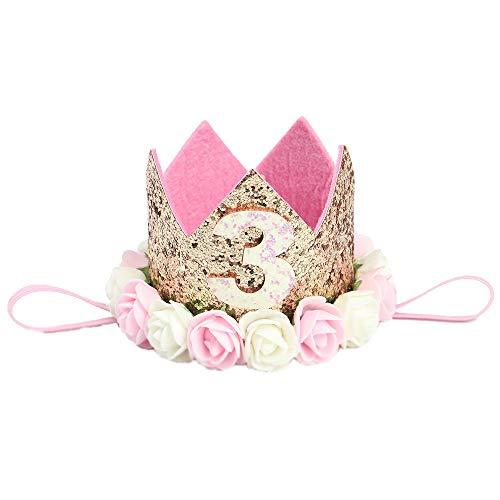 MINGZE Flor Corona Diadema, 1-3 años de Edad Princesa bebé cumpleaños Accesorios para el Cabello Baby Princess Tiara Sombrero Sparkle Gold Flower Style con Flor de Rosa Artificial (3)