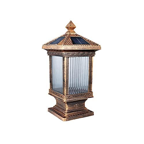 SDFDSSR Lámpara de Pilar Solar para Exteriores Aluminio Fundido IP65 Luz de Poste a Prueba de Agua Luz LED de Ahorro de energía con energía Solar Pantalla de Vidrio Transparente Luz de Poste