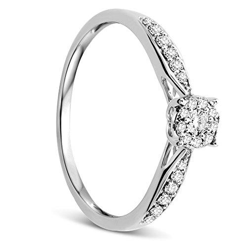 anello donna oro bianco con diamante Orovi Anello Donna in Oro Bianco con Diamanti Taglio Brillante Ct 0.20 Oro 9 Kt / 375