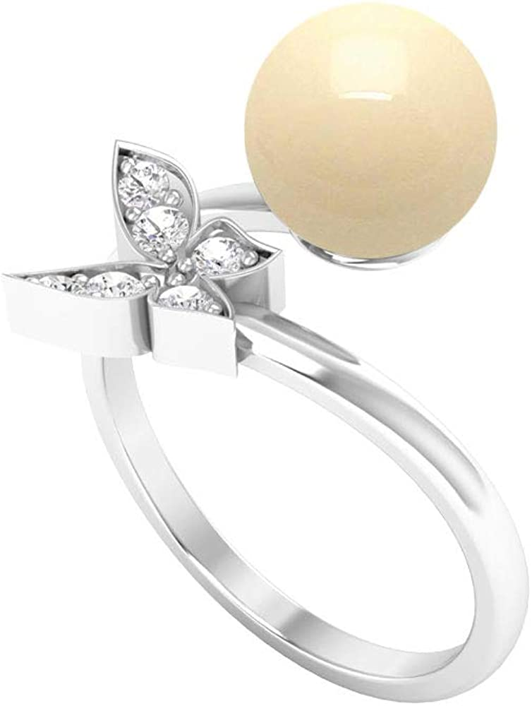 4 CT Japanese Cultured Pearl and Diamond Butterfly Wrap Ring (8 MM Akoya Pearl), 14K Gold