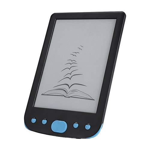 E-Reader, Lettore di e-Book Portatile da 6 Pollici Impermeabile Ereader da 8 GB con Inchiostro elettronico, risoluzione 800 * 600, Supporto TF Card estesa da 32 GB per Notte.(Blu)