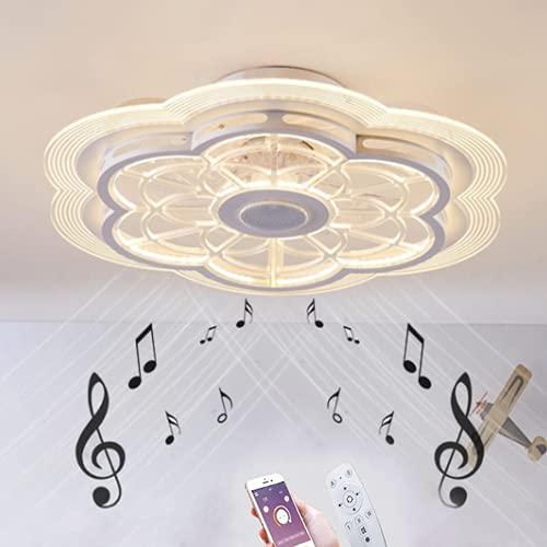 Ventiladores para el Techo con Lámpara, Música Bluetooth Ventilador de Techo con Luz y Mando a Distancia, 80W Fan Silencioso Luz del Ventilador de Techo Control de APP LED Lámpara de Techo Reg