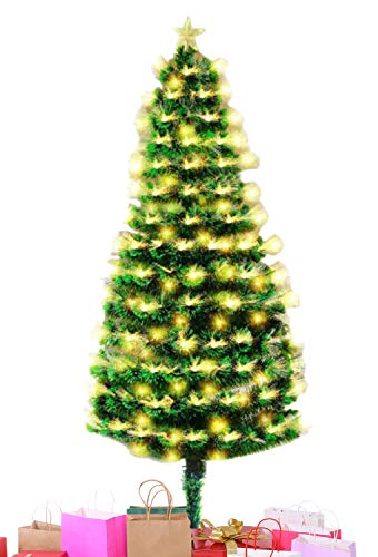 Rufeud Pre-lit PVC Artificial Christmas Tree with Fiber Optic LED, for Xmas Holiday Home Indoor Decoration, Foldable Metal Stand 5ft/6ft/7ft (Green, 5 ft)