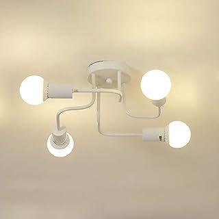 Vintage Ceiling lamp Modern Retro 4-Flame Ceiling lamp Rustic Chandelier Industrial Ceiling Lamps for Living Room Bedroom ...