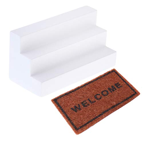 FLAMEER 2pcs 1:12 Puppenstube Miniatur Boden Teppichdecke Teppich und Holztreppe Möbel Modell Set