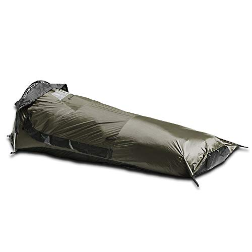 Aqua Quest Hideaway Bivy Stealth Compact Single-Pole Hooped Tent Waterproof Breathable with Mosquito Bug Net Mesh for Hunting, Hiking, Camping - Olive Drab
