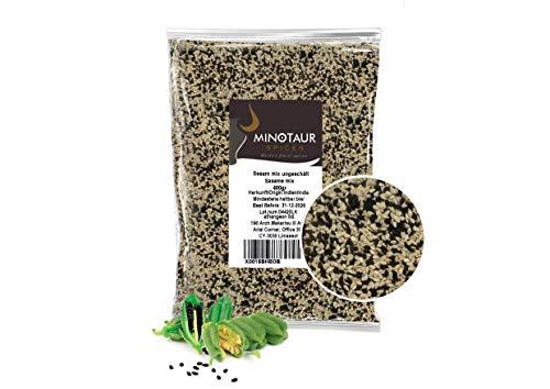 Minotaur Seeds   Sesam Mix Ungeschält Besteht aus 60% Weißen und 40% Schwarzen Sesam, Sesamsaat für Sushi, 2 X 400 g (800 gr)
