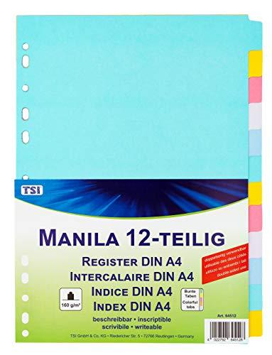 TSI 64512 Register aus stabilem Manila-Karton 12-teilig, mit bunten Taben, beschreibbar
