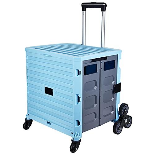 mlloaay キャリーカート 折りたたみ ショッピングカート 8輪 大容量 階段登り 360°回転 買い物カート伸縮式取っ手 組み立て簡単 携帯便利 アウトドア キャンプ 運搬 買い物 防災 旅行用 台車 (青)