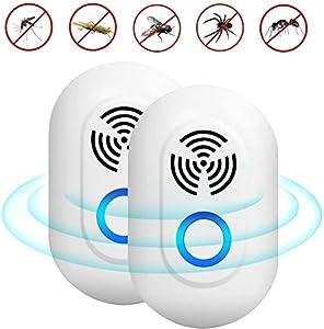 ADORIC Repelente Ultrasónico Mosquitos Control de Plagas para Las Moscas, Cucarachas, Arañas, Hormigas, Ratas y Ratones, Insectos Antimosquitos Eléctrico Extra Fuerte para Interiores (2 Packs)