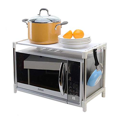 JPL Estante de almacenamiento de cocina doméstica, estante de cocina Soporte de horno de microondas Suministros de cocina Estante de almacenamiento con ganchos Acero inoxidable