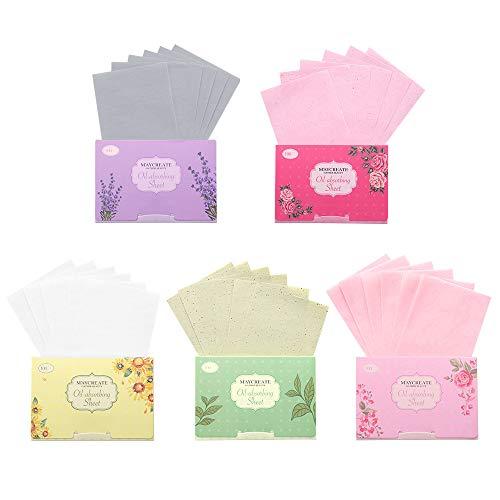 Gobesty Gesichts Löschpapier, 500 Blatt NatüRliche öLabsorbierende Gewebe Gesichtsöl Blotting Paper Öl-Kontrollpapier mit Lavendel, Grüner Tee, Kamille, Rose für Frauen, Mann