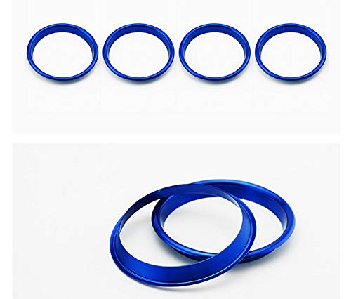 Smartnavi 4pcs/set Interior Dashboard Air Conditioning Vents Decoration Trim Air Outlet Ring Circle Car Styling Stainless Steel Decals For A3 S3(Blue)