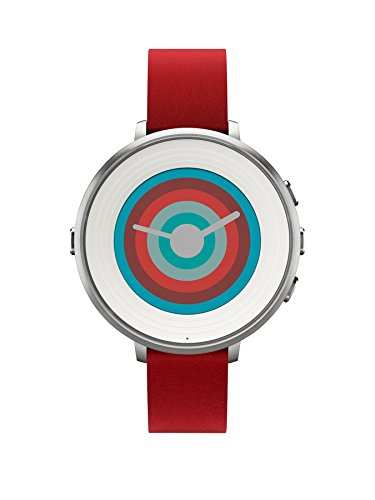 Pebble ぺブル 14 mm Time Round Smartwatch - Silver/White Face flame with Red Leather 極薄かつ超軽量の丸型スマートウォッチ [並行輸入品]