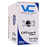 Vertical Cable Cat6, 550 MHz, UTP, 23AWG, Solid Bare Copper, 1000ft, White, Bulk Ethernet Cable - 161 Series