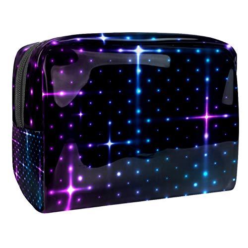 Bolso Cosmético Starlight Violeta Azul Bolso de Maquillaje Bolsa de Almacenamiento portátil Estuche de Maquillaje con asa Makeup Toiletry Bag 18.5x7.5x13cm