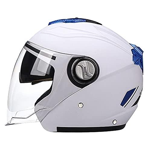 Sharplace Cascos de Moto Abatibles Casco de Cara Abierta de Doble Visera para Un Adulto Unisex - Blanco, Los 56-62cm