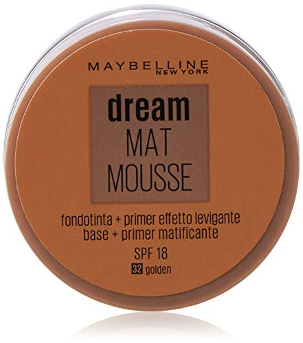 Maybelline New York - Dream Mat Mousse, Base de Maquillaje en Mousse, Tono 32 Dorado