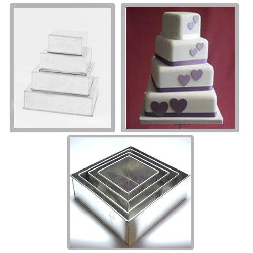 EURO TINS Set of 5 Piece Cake Baking Pans 6, 7, 8, 9, 10 Inch (Square)