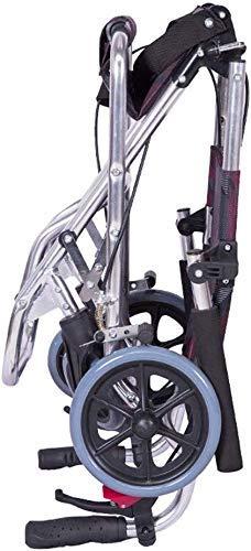 Hyy-yy Aluminio silla de ruedas silla de ruedas de autopropulsión silla de ruedas ligera, antideslizante resistente al desgaste de la rueda 360 ° Sólido, Ensanchamiento del cinturón de seguridad, desp