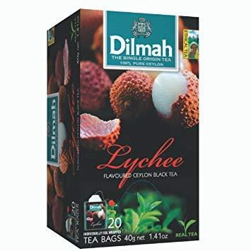 Dilmah Einzelner schwarzer Tee 100% Ceylon mit Litschi-Aromen - 1 x 20 Teebeutel (40 Gramm)