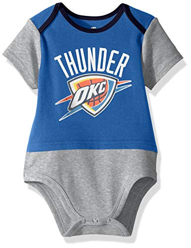 NBA by Outerstuff NBA Newborn & Infant Oklahoma City Thunder Referee Short Sleeve Bodysuit, Strong Blue, 0-3 Months