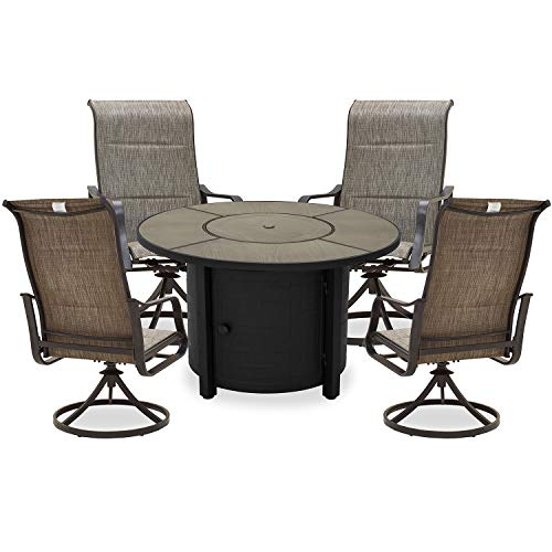 PatioFestival Patio Dining Set 5Pcs Outdoor Furniture Sets 50,000 BTU Round Propane Fire Pit Table with Swivel Rocker Dining Chairs(Grey)
