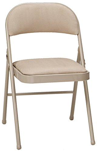 MECO 4-Pack Deluxe Fabric Padded Folding Chair, Buff Frame and Sand Fabric Seat and Back