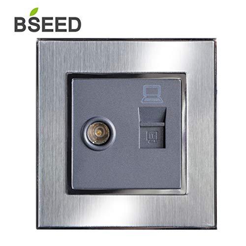BSEED TV antenne coaxiale en Ethernet netwerkaansluiting Cat5e 1 poort RJ45 geborsteld staal wandcontactdoos