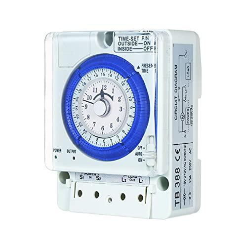 Fesjoy Temporizador mecánico de 24 Horas con batería Intervalos de 15 Minutos Pasadores de Empuje Sin Falla de energía Interruptor de Tiempo de 100V-240V 15A Carril DIN Ideal para Luces LED CFL