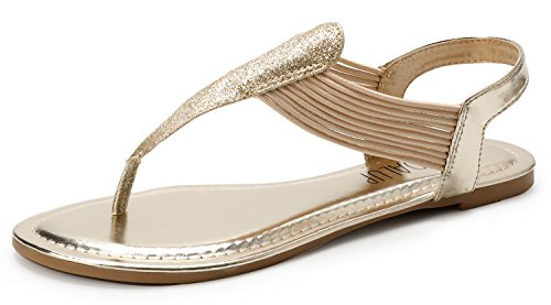 SANDALUP Women's Elastic strappy Flat Sandals w Sparkling Thong Sandals for women Light Gold 07