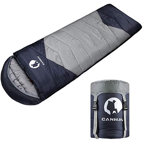 CANWAY Schlafsack Sommerschlafsack Schlafsäcke Mumienschlafsack aus Baumwolle als Füllstoff wasserabweisend für Camping Indoor Outdoor Erwachsene 1,9KG (Grau-Polyester)